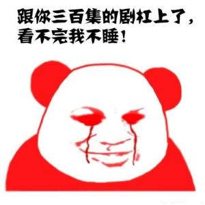 熬夜追剧熊猫头表情包高清版